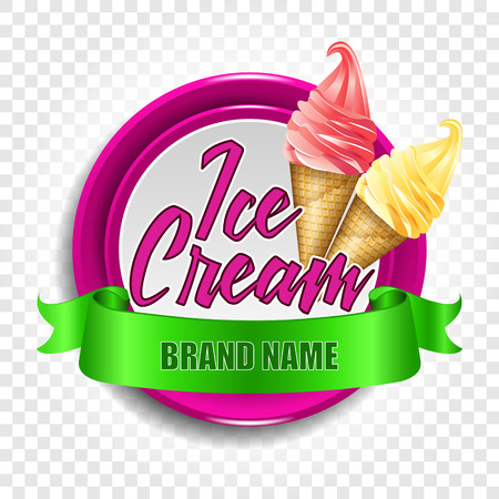 Illustration pour A round logo or a sticker with ice cream in a horn. Vector illustration on a transparent background - image libre de droit