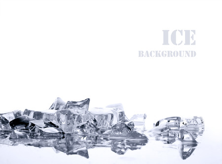 pile of different bright ice cubes on reflection surface on  white background
