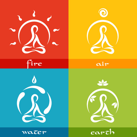 Illustration pour four elements of nature: fire, air, water, earth - simple flat designed icons in yoga style - image libre de droit