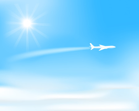 Illustration pour white airplane flying  over clouds, visible trace of plane, sun on  blue sky, vector illustration - image libre de droit