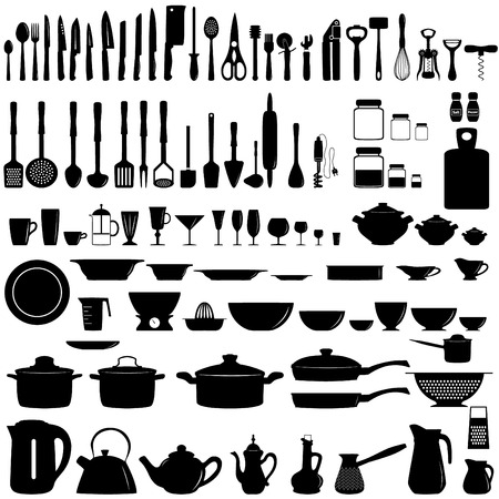 Illustration pour Set of kitchen utensils and appliances - image libre de droit