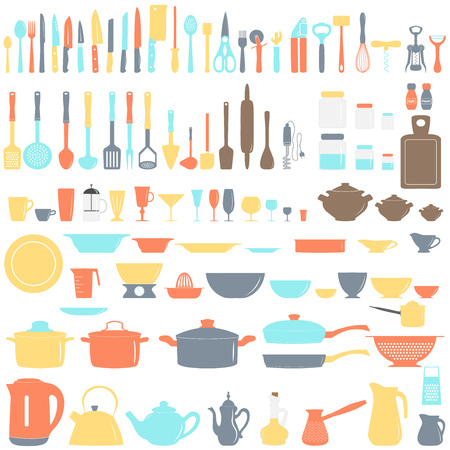 Set of kitchen utensils, vector illustration