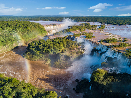 Foto de Aerial view of the Iguazu Falls. View over the Garganta del Diablo the Devil's Throat. - Imagen libre de derechos