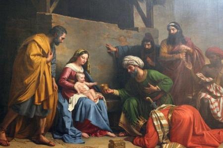 Photo for Nativity Scene, Adoration of the Magi , Saint Etienne du Mont Church, Paris  - Royalty Free Image