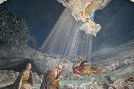 Photo for Angel of the Lord visited the shepherds and informed them of Jesus - Royalty Free Image