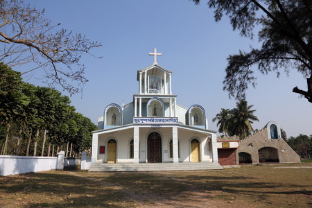 The Catholic Church in Basanti, West Bengal, India. There are over 17.3 million Catholics in India which represents less than 2% of the total population.