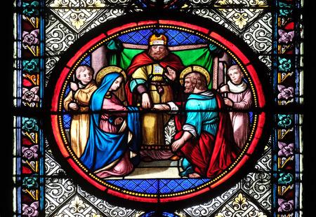 Foto de Marriage of St Joseph and Virgin Mary, stained glass window in the Basilica of Saint Clotilde in Paris, France - Imagen libre de derechos