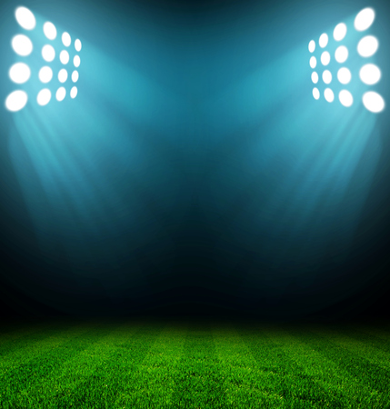 Photo pour stadium lights at night and stadium - image libre de droit