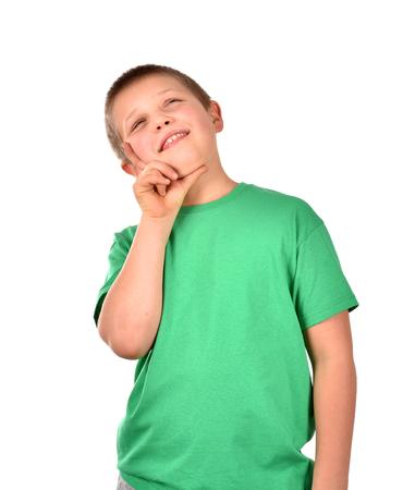 Foto de Portrait of a boy. A cheerful boy. Isolated boy. Good mood. - Imagen libre de derechos