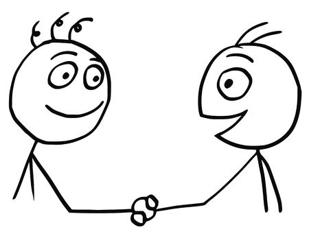 Illustration pour Cartoon vector of two friendly men shaking their hands. - image libre de droit