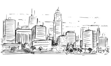 Illustration pour A Vector cartoon sketchy drawing of city high rise cityscape landscape with skyscraper buildings. - image libre de droit