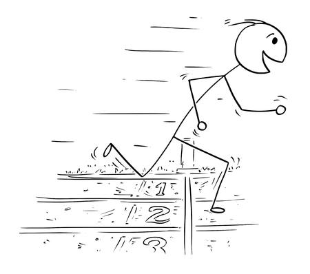 Ilustración de Stick man drawing illustration of man at finish line winning the race run. - Imagen libre de derechos