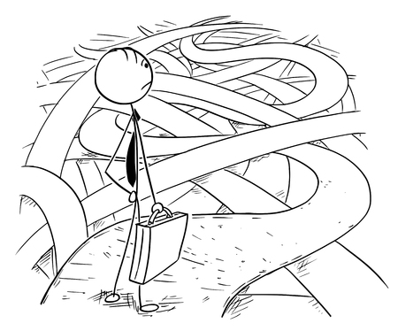 Ilustración de Cartoon stick man drawing conceptual illustration of businessman facing the challenges and difficulties of business financial crisis standing on the chaos of roads and ways. - Imagen libre de derechos