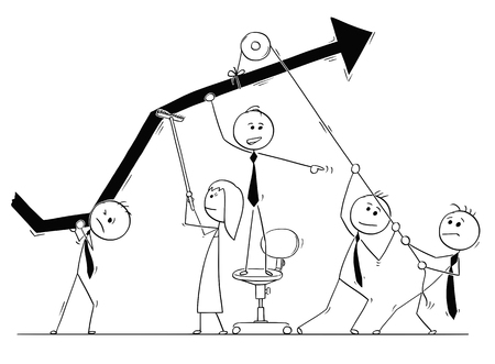 Illustration pour Cartoon stick man drawing conceptual illustration of group of business people working together as team on growth chart to achieve success and profit. Concept of teamwork. - image libre de droit