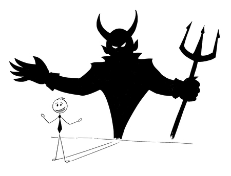 Illustrazione per Cartoon stick man drawing conceptual illustration of businessman and his devil inside shadow on the wall. Business concept of success and self inconsiderateness. - Immagini Royalty Free