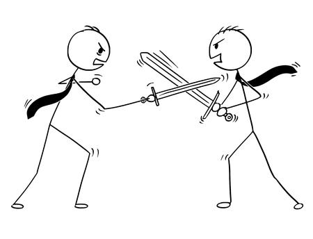 Ilustración de Cartoon stick man drawing conceptual illustration of two businessmen arguing and sword fighting. Business concept of problem discussion. - Imagen libre de derechos
