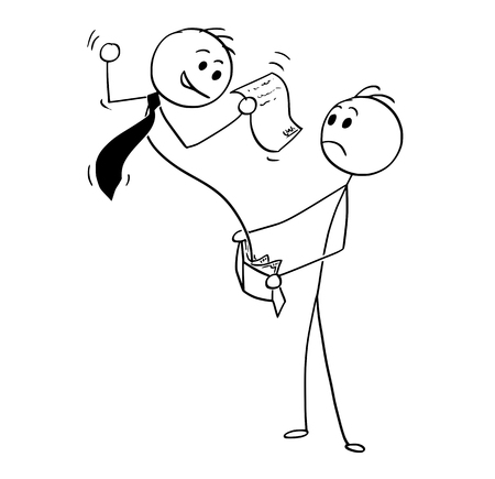 Illustration pour Cartoon stick man drawing conceptual illustration of businessman pop up with agreement from customers wallet. Business concept of debt, loan and credit. - image libre de droit