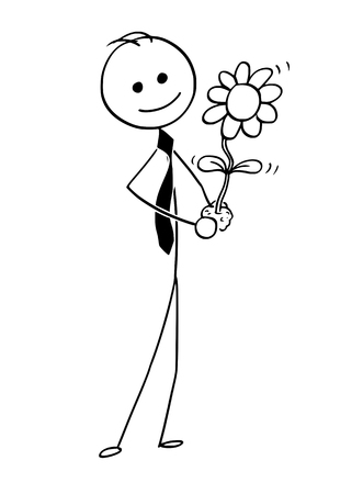 Illustrazione per Cartoon stick man drawing conceptual illustration of businessman care about blooming plant in his hand. Business concept of investment, growth and success . - Immagini Royalty Free
