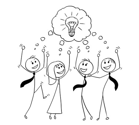Ilustración de Cartoon stick man drawing conceptual illustration of business team celebrating successful meeting and brainstorming. Concept of teamwork and creativity. - Imagen libre de derechos