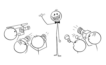 Illustration pour Cartoon stick man drawing illustration of male star celebrity with large crazy artificial smile - image libre de droit