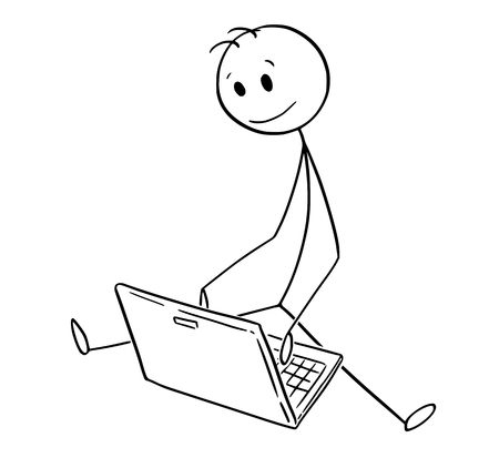 Ilustración de Cartoon stick man drawing conceptual illustration of man or businessman sitting on ground in outdoor and working on laptop notebook. Business concept of new technology. - Imagen libre de derechos
