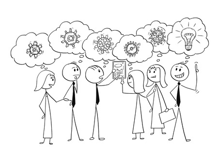 Ilustración de Cartoon stick man drawing conceptual illustration of business team or group of businessmen and businesswomen working together to find problem solution, one Businessman just get the idea. Concept of teamwork and brainstorming. - Imagen libre de derechos