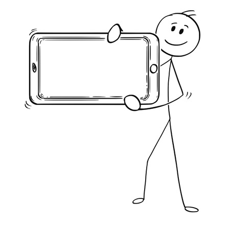 Illustration pour Cartoon stick man drawing conceptual illustration of businessman holding large mobile phone in front of him as empty or blank sign. - image libre de droit