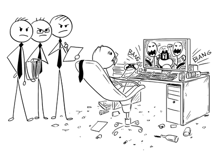 Ilustración de Cartoon stick man drawing conceptual illustration of businessman drinking, smoking cigarette and playing computer game at work. Three managers or management - Imagen libre de derechos