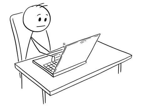 Illustrazione per Cartoon stick man drawing, conceptual illustration of businessman working on notebook computer. - Immagini Royalty Free