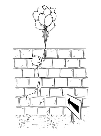 Illustrazione per Cartoon stick man drawing conceptual illustration of businessman holding bunch of inflatable balls or air balloons and flying over wall. Business concept of problem, obstacle and solution. - Immagini Royalty Free