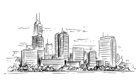 Illustration pour Vector artistic sketchy pen and ink drawing illustration of generic city high rise cityscape landscape with skyscraper buildings. - image libre de droit