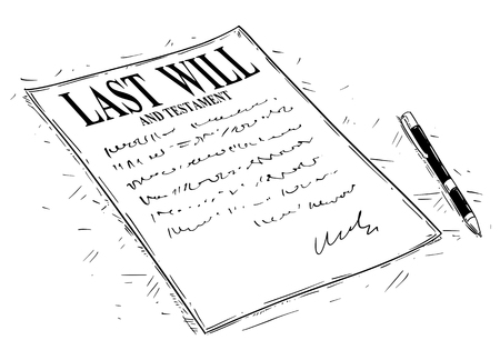Illustration for Vector artistic ink drawing illustration of pen and last will and testament document to sign. - Royalty Free Image