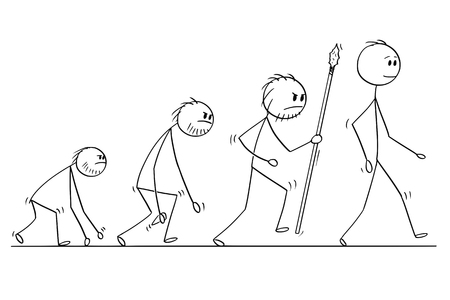 Ilustración de Cartoon stick man drawing conceptual illustration of human evolution process progress. - Imagen libre de derechos