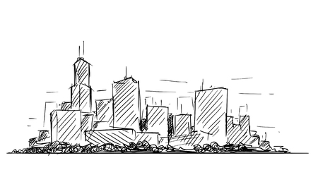 Illustration pour artistic sketchy pen and ink drawing illustration or sketch of generic city high rise cityscape landscape with skyscraper buildings. - image libre de droit