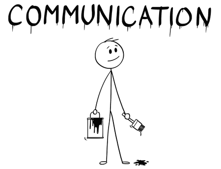 Illustrazione per Cartoon stick man drawing conceptual illustration of businessman with brush and paint can painting or drawing the word communication. - Immagini Royalty Free