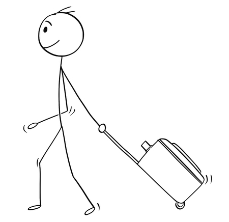 Ilustración de Cartoon stick man drawing conceptual illustration of man or male tourist with wheeled luggage or case going on holiday or vacation. - Imagen libre de derechos