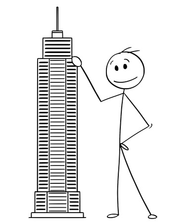 Illustrazione per Cartoon stick man drawing conceptual illustration of businessman standing with skyscraper building model. Business concept of architecture and real estate investment. - Immagini Royalty Free
