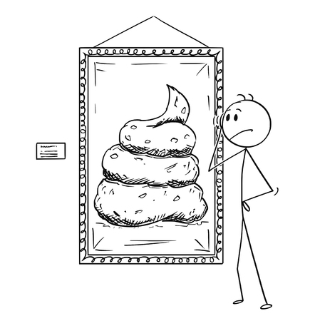 Illustrazione per Cartoon stick drawing conceptual illustration of unsatisfied man looking at modern art shit painting in gallery. - Immagini Royalty Free