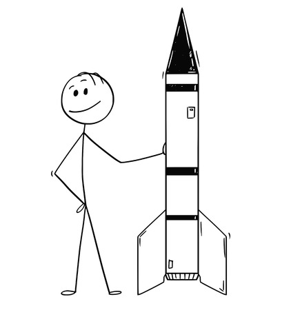 Illustrazione per Cartoon stick drawing conceptual illustration of politician or businessman leaning on missile or rocket. Concept of military industry and technology. - Immagini Royalty Free
