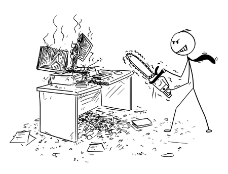 Illustration pour Cartoon stick man drawing conceptual illustration of angry or mad businessman with chainsaw destroying computer and working desk. Business concept of frustration and repressed aggression. - image libre de droit