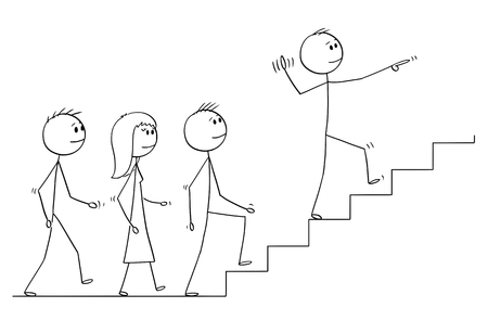 Illustration pour Cartoon stick drawing conceptual illustration of leader leading a team of business people upstairs. Business concept of leadership and management. - image libre de droit