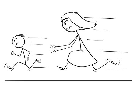 Illustrazione per Cartoon stick drawing conceptual illustration of frustrated and angry mother chasing naughty and disobedient son. - Immagini Royalty Free
