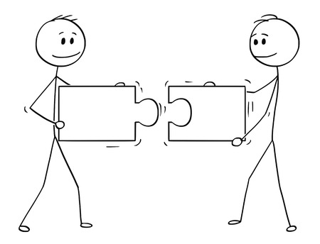Illustrazione per Cartoon stick man drawing conceptual illustration of two businessmen holding and connecting matching pieces of jigsaw puzzle. Business concept of teamwork, collaboration and problem solution. - Immagini Royalty Free