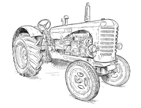 Illustration pour Vector artistic pen and ink drawing of old tractor. Tractor was made in Scotland, United Kingdom in between 1954 - 1958 or 50s. - image libre de droit