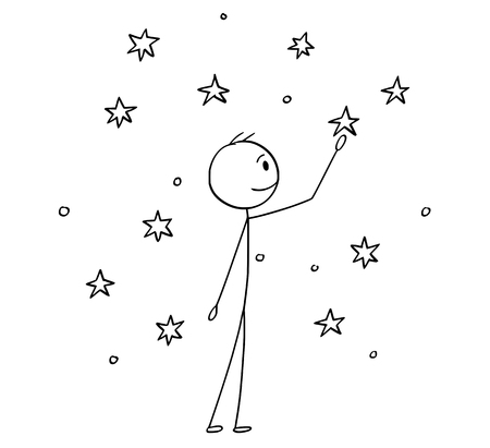 Illustration pour Cartoon stick drawing conceptual illustration of man touching stars on the sky. - image libre de droit