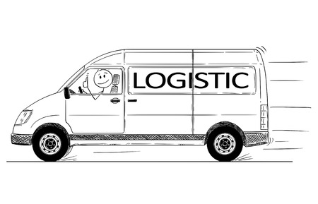 Illustration pour Cartoon stick drawing conceptual illustration of driver of fast driving generic delivery van with logistic text showing thumbs up gesture. - image libre de droit