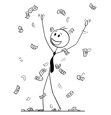 Illustrazione per Cartoon stick drawing conceptual illustration of businessman celebrating and collecting money or banknotes rain falling from sky. Metaphor of financial success. - Immagini Royalty Free