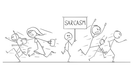 Illustrazione per Cartoon stick figure drawing illustration of group or crowd of people running in panic away from man walking with Sarcasm sign. - Immagini Royalty Free