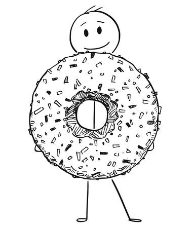 Illustrazione per Cartoon stick figure drawing conceptual illustration of smiling man holding big donut or doughnut dessert. - Immagini Royalty Free