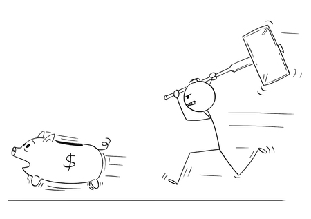 Illustrazione per Cartoon stick figure drawing conceptual illustration of angry man or businessman chasing running piggy bank pig with big hammer. - Immagini Royalty Free